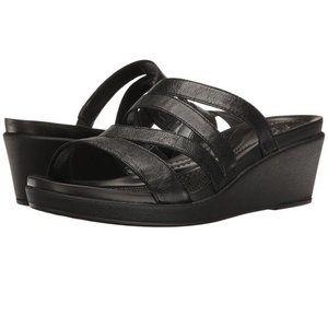 CROCS Women's Leigh-Ann Leather Mini Wedge Black 9